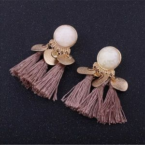 Vintage Mauve Tassel Earrings